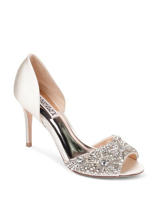 Badgley Mischka Maria Embellished Satin Peep Toe Pumps Size 9.5 Retail  235
