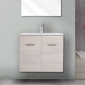 Lavabo Bagno Con Mobile Piccolo.Dettagli Su Mobile Bagno Salvaspazio 60cm Sospeso Per Bagno Piccolo Con Lavabo E Ante Design
