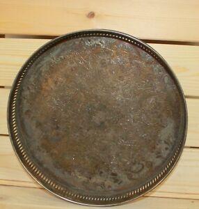 Vintage-ornate-floral-metal-round-serving-tray-platter