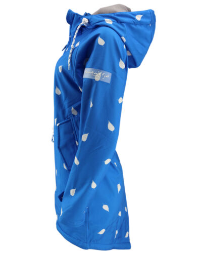 AMUNDSENS FJELL Damen Softshell-Mantel BIRKA Parka Jacke Übergang blau Blätter