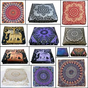 Indian-Beautiful-Square-Floor-Cushion-Cover-35-Inches-Cotton-Fabric-Handmade-Art