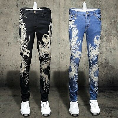 Men Floral Printed Stretch Cotton Pencil Pants Slim Fit Casual Trousers Clubs
