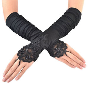 Womens-Lace-Satin-Gloves-Bride-Wedding-Party-Evening-Dress-Fingerless-Costume-US