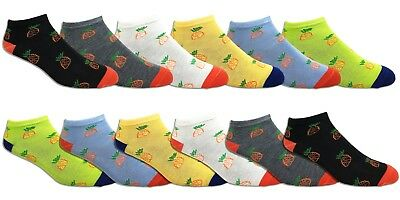 Asst Colors 9-11 6 Pair Pack Of Women's Donuts Ankle Low Cut No Show Socks