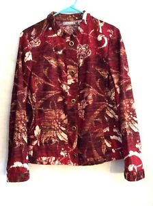 Chicos Women's Jacket Multi Floral Size 1 Long Sleeve Button Front 100% Cotton