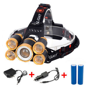 80000LM-5-LED-Zoom-LED-Rechargeable-18650-Headlamp-Head-Light-Torch-Charger-US