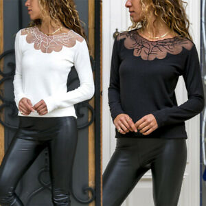 Women-039-s-Long-Sleeve-Lace-Pullover-Tops-Ladies-Casual-Loose-T-Shirts-Blouse-Tee