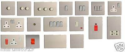 Screwless Flat Plate Switches & Sockets Brushed Stainless Steel