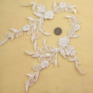 2-IVORY-CREAM-LACE-APPLIQUE-BRIDAL-WEDDING-225mm-x-140mm-SEW-ON-DRESS-HL1438