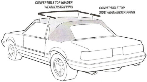 1985-1993 Ford Mustang GT /& LX new convertible top frame weatherstrip seal set