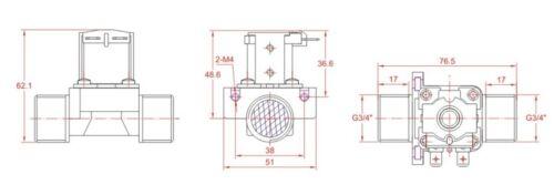 """3//4/"""" BSPP 220 V NC 2 vías de Agua Aire Gas Válvula de solenoide de plástico de nylon"""