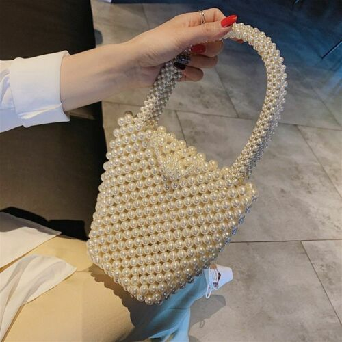 Woven beaded small shoulder pouch