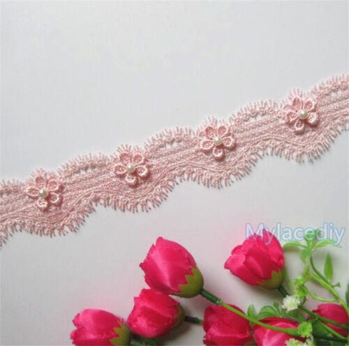1//2//5yd Vintage Flower Pearl Lace Edge Trim Wedding Ribbon Applique Sewing Craft
