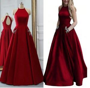 Tres Belle Robe De Soiree Pour Ceremonie Pour Femme Rouge Avec Poche Dos Nu Ebay