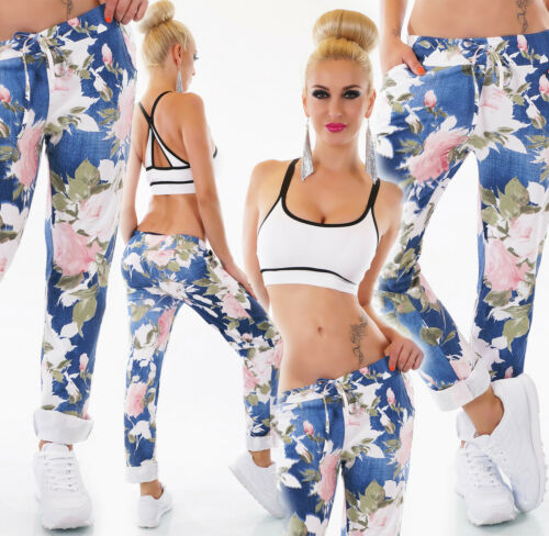 ITALY Damen Hose Freizeithose PRINT Sweat Baggy Jogpants