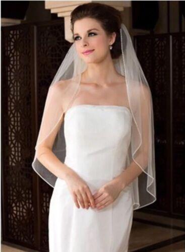 Bridal White Veil 1 Tier With Comb Handmade Crystal Rhinestone Edge Soft Swiss
