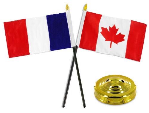 "France and Canada Flag 4/""x6/"" Desk Set Table Stick Gold Base"