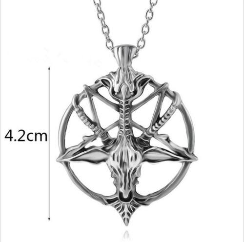 Baphomet Necklace Inverted Pentacle Pendant Retro Satanic Goat/'s Ritual Skull