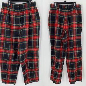 Vtg-Karen-Scott-Pants-Plaid-Red-Black-Career-Slacks-Rayon-Blend-Pockets-Sz-12