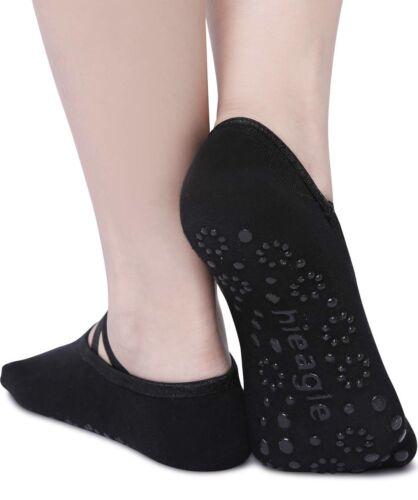Full Toe NonSlip Yoga Pilate Barre Socks w//Full Grip Surface Ballet Style-Black