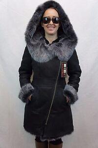 Black-100-Toscana-Sheepskin-Shearling-Leather-Lambskin-Coat-Jacket-Hood-XS-7XL