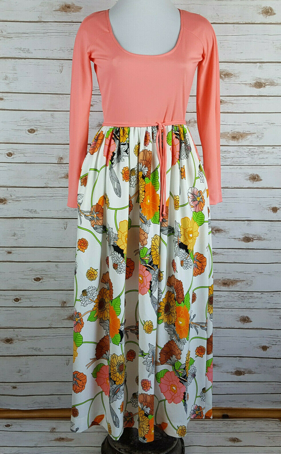 Vintage 70s Victor Costa Bright Floral Maxi Dress S Garden Party Romantic Mod
