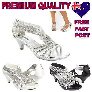 Womens-Heels-Shoes-Party-Evening-Bridal-Bridesmaid-Wedding-Black-White-Silver