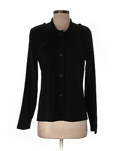 Women-Exclusively-Misook-Black-Button-Front-Jacket-Size-S