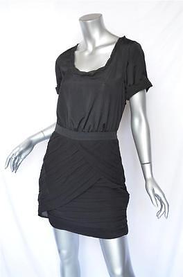 DIANE VON FURSTENBERG Black *CELIA* Pleated Banded Silky+Chiffon LBD Dress 6