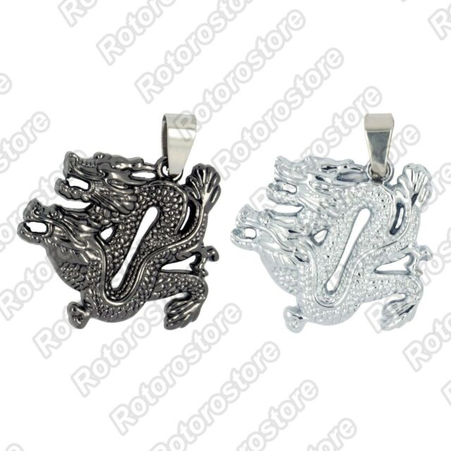 Double 2 Head Dragon Necklace - Men's Womens Stainless Steel Pendant - NEW