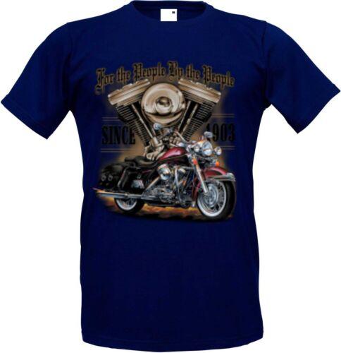 T Shirt navyblau HD V Twin Biker Chopper-/&Old Schoolmotiv Modell For the People