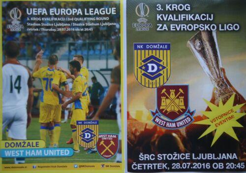 West Ham United VIP Programm /& Flyer UEFA EL 2016//17 NK Domzale