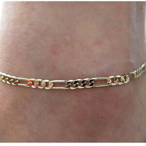 578185f2cf716 Details about Simple Men Women Gold Tone Alloy Curb Cuban Link Anklet Foot  Chain Jewelry S