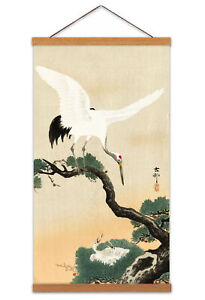 Ohara-Koson-Japanese-Crane-Bird-On-Branch-Of-Pine-Canvas-Wall-Art-Print-Poster