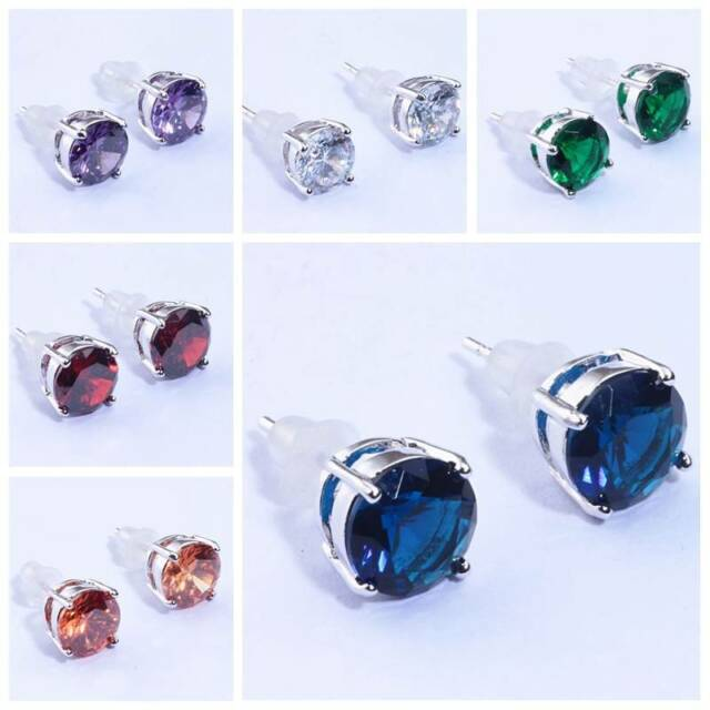 Garnet Sapphire Topaz Women Jewelry Gems Silver Stud Earrings 6 7 8mm FH3177-96