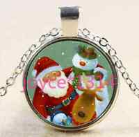 Vintage Christmas Cabochon Tibetan silver Glass Chain Pendant Necklace &XP-2495