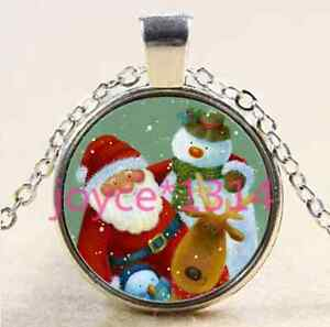 Vintage-Christmas-Cabochon-Tibetan-silver-Glass-Chain-Pendant-Necklace-XP-2495