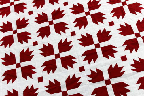 Red and White Bear Paw QUILT TOP Patchwork traditional creation