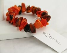 RARE SOBRAL PLASTIC RESIN ORIENT EXPRESS ORANGE CHUNK STRETCH BRACELET NWT