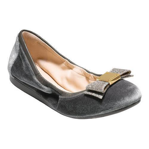 NWOB Cole Haan Tali Bow Ballet Flat Schuhes W09655 Grau Größe 6B 170