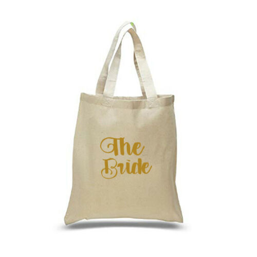 Printed in Gold Wedding Party Bridal Tote Bags Bridesmaid Favour Hen Party Bag