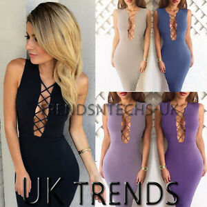 UK-Womens-Bodycon-Plunge-Neck-Cut-Out-Ladies-Party-Evening-Midi-Dress-Size-6-14