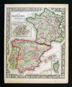 Details about 1865 Mitc Map France Spain Portugal Corsica Lisbon Madrid on map of portugal, humans in portugal, lisbon portugal, capital of portugal,