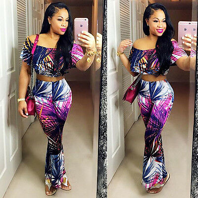 Sexy Womens Crop Top 2Piece Set Print Bodycon Bandage Club Party Long Jumpsuit