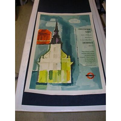 2027025. Set of 2 Christopher Wren Posters by Unger on Linen Lot 2027025