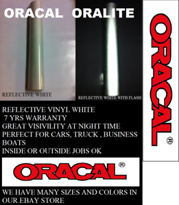 "12/"" x 10 FT White Reflective Vinyl Adhesive  Sign Made in USA Oracal Oralite"