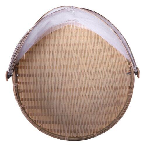 Handmade Bamboo Woven Bug Proof Wicker Basket Food Dish Net Cover With Gauze