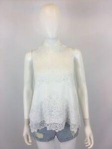 Anthropologie-Greylin-Women-039-s-White-Lace-High-Neck-Sleeveless-Top-Size-M