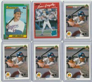 1990 MLB Topps Upper Deck Baseball   Juan Gonzalez RC 6X Lot   Texas Rangers
