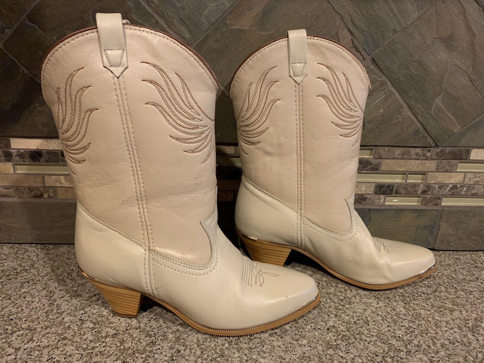 Donna Dingo Sz 7.5w Tan Leather Cowboy stivali oro Tips Great